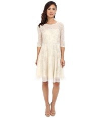 Tahari By Arthur S. Levine 3 4 Sleeve Lace Embroidered Fit Flare Champagne Women's Dress Gold