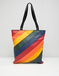 Warehouse Leather Shopper Bag In Rainbow Stripe Multi