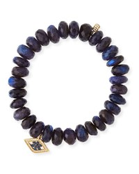 Sydney Evan Beaded Spectralite Bracelet With Diamond And Sapphire Flower Eye Charm
