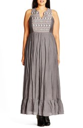 City Chic Plus Size Women's 'Embroidered Love' Maxi Dress