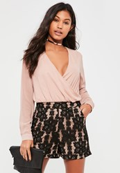 Missguided Black High Waisted Lace Shorts Nude