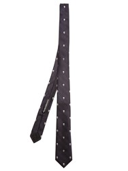 Alexander Mcqueen Prince Of Wales Check And Skull Tie Navy Multi