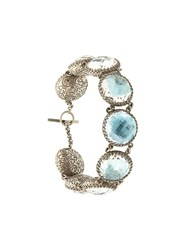 Larkspur And Hawk Olivia Sky Foil Button Bracelet Blue