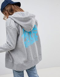 Santa Cruz Zip Hoodie With Drip Back Logo Heather Grey