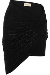 Alexandre Vauthier Ruched Crystal Embellished Stretch Jersey Mini Skirt Black