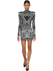 Balmain Backless Jacquard Knit Mini Dress Black