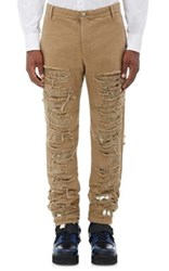 Hood By Air Men's Cotton Layered Shredded Pants Tan