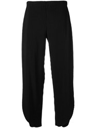Issey Miyake Pleated Cropped Trousers Black