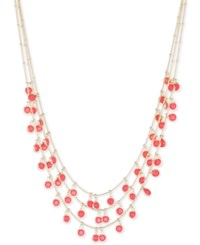 Anne Klein Gold Tone Shaky Bead Layer Necklace Coral