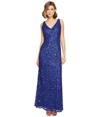 Adrianna Papell Sleevless Beaded Mermaid Gown Neptune Women's Dress Blue