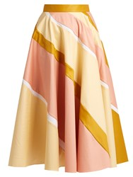 Roksanda Ilincic Striped Cotton Blend A Line Skirt Yellow Multi