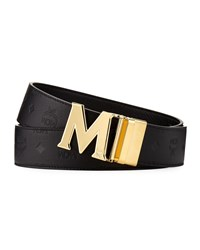 Mcm Embossed Leather Belt Black