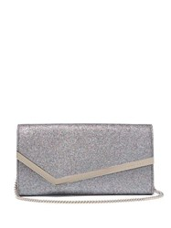 Jimmy Choo Emmie Glitter And Leather Clutch Silver