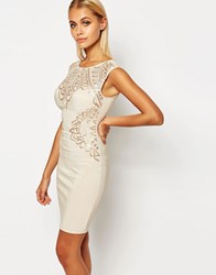 Lipsy Flat Sequin Bodycon Dress Nude Sequin Pink