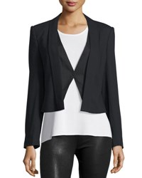 Halston Wool Blend Suiting Combo Jacket Black
