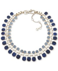 Dkny Gold Tone Stone Collar Necklace 16 3 Extender Blue