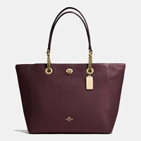 Coach Turnlock Chain Tote In Polished Pebble Leather Light Gold Oxblood