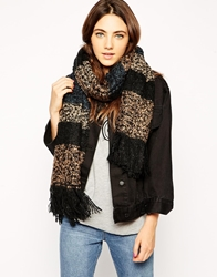 Barts Mayfair Oversized Chunky Knitted Scarf Black