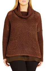 City Chic Plus Size Women's Open Stitch Cowl Neck Sweater Cocoa