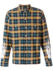Adaptation Flame Print Plaid Shirt Cotton Xl Yellow Orange