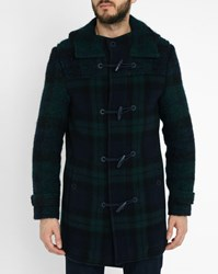 Carven Navy Blue And Green Dual Fabric Wool Checked Duffel Coat