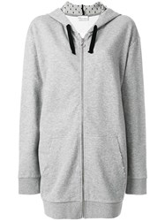 Red Valentino Oversized Zip Hoodie Grey