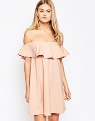 Asos Swing Dress With Cold Shoulder And Ruffle Detail Pink