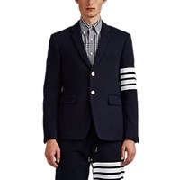 Thom Browne Cotton Three Button Sportcoat Navy