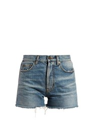 Saint Laurent Raw Hem Denim Shorts Denim