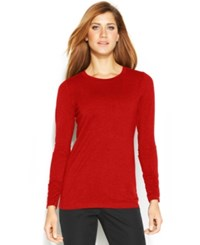 Alfani Long Sleeve Ruched Top New Red Amore