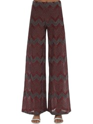 M Missoni Zig Zag Lurex Knit Flared Pants Bordeaux