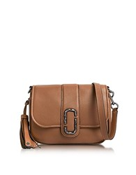 Marc Jacobs Oak Pebbled Leather Interlock Small Courier Crossbody Bag Brown