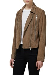 Selected Femme Lara Suede Leather Jacket Timber Wolf