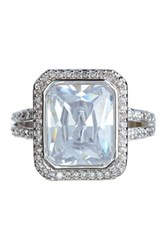 Covet Pave Cz Halo Solitaire Ring Metallic