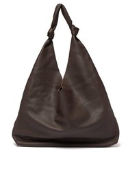 The Row Bindle Grained Leather Tote Bag Dark Brown