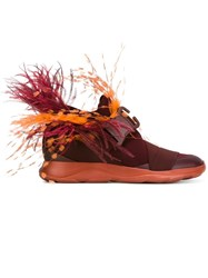 Christopher Kane Feather Embellished Sneakers Red