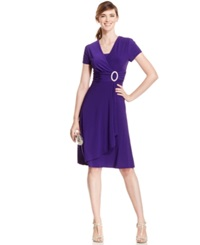 R And M Richards Short Sleeve Faux Wrap Dress Iris