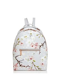 Ted Baker Darissa Oriental Bloom Leather Backpack Light Gray Rose Gold