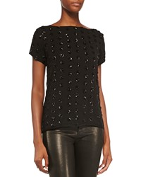 Milly Short Sleeve Sequined Dot Tee Black