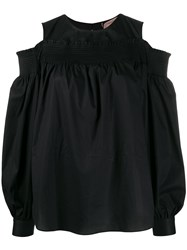 Twin Set Smocked Ruffle Trimmed Blouse Black