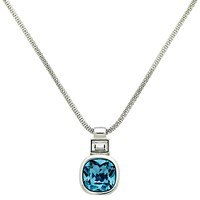 Finesse Glass Crystal Pendant Necklace Silver Sapphire Blue