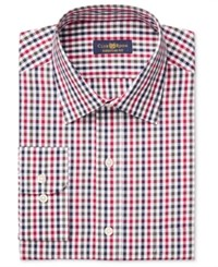 Club Room Men's Estate Classic Fit Wrinkle Resistant Holiday Gingham Dress Shirt Only At Macy's Red
