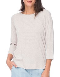 B Collection By Bobeau Boatneck Striped Tee Oatmeal