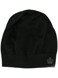 Dolce And Gabbana Embroidered Crown Beanie Black