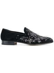 Alexander Mcqueen Embroidered Slippers Black
