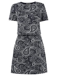 Oasis Paisley Jacquard Dress Navy