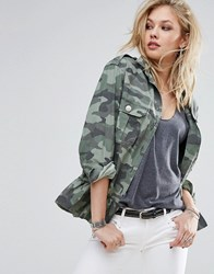 Replay Camo Military Jacket With Frill Hem Multi