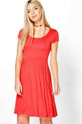 Boohoo Jersey Cap Sleeve Skater Dress Poppy