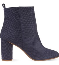 Maje Snake Embossed Leather Heeled Ankle Boots Bleu