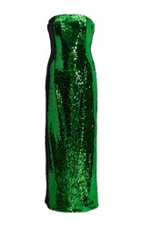 Sally Lapointe Sequin Strapless Column Dress Green